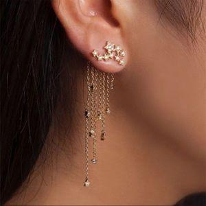 3/$30 Crystal Star Zinc Alloy Dangle Earrings